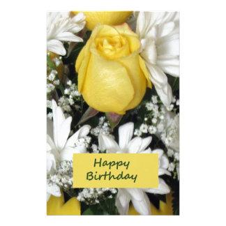 Yellow Rose White Daisie Birthday Custom Stationery