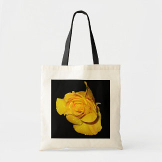 Yellow Rose with Dew Drops Budget Tote Bag