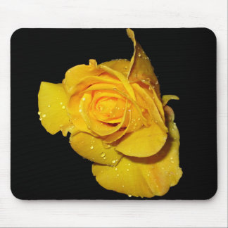 Yellow Rose with Dew Drops Mouse Pad