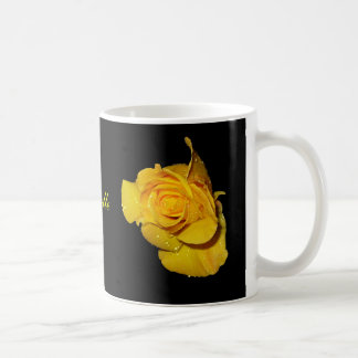 Yellow Rose with Dew Drops Classic White Coffee Mug