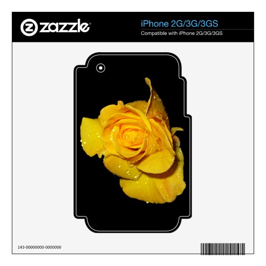 Yellow Rose with Dew Drops Skin For iPhone 3GS