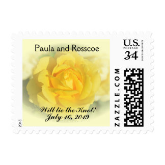 Yellow Rose with Faded Blue Postage Stamp