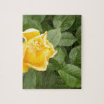 Yellow Rose with Green Leaves Jigsaw Puzzles