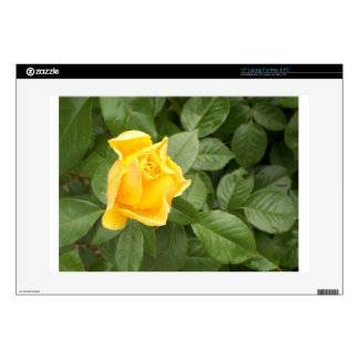 "Yellow Rose with Green Leaves 15"" Laptop Skin"