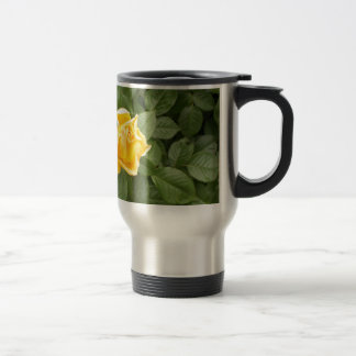 Yellow Rose with Green Leaves Travel Mug