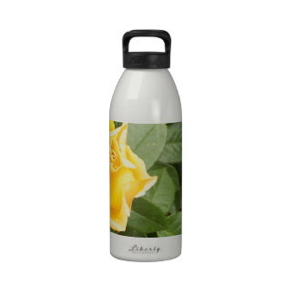 Yellow Rose with Green Leaves Reusable Water Bottles