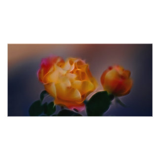 Yellow rose with pink and meaning photo greeting card