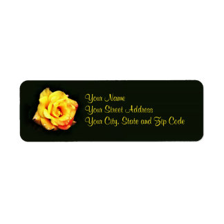 Yellow rose with rain drops label
