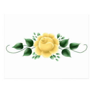 Yellow Rose with vine Postcard