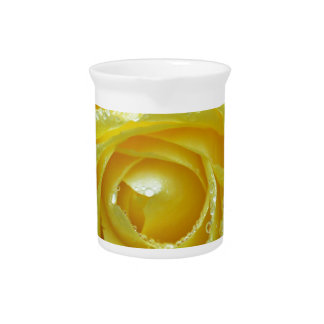 Yellow Rose with Water Drops Beverage Pitchers