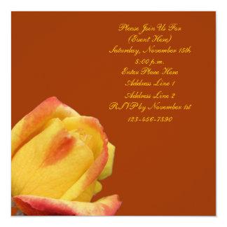Yellow Rosebud Floral Square Invitation