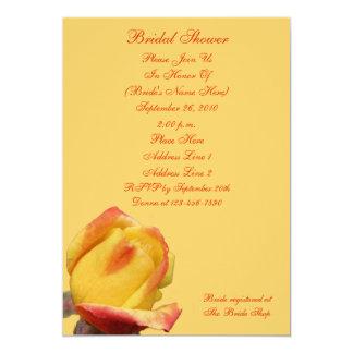 Yellow Rosebud Flower Bridal Shower Invite