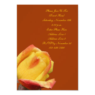 Yellow Rosebud Flower Invitation