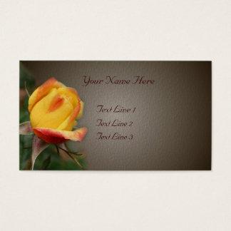 Yellow Rosebud Flower On Brown Business Card