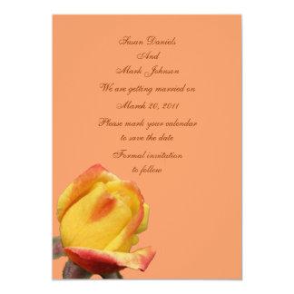 Yellow Rosebud Flower Wedding Save The Date Card
