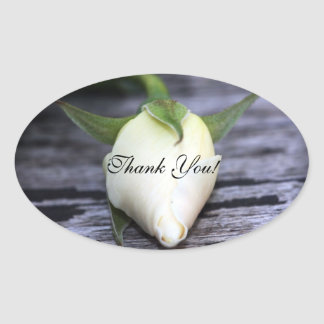 Yellow Rosebud Oval Thank You Stickers