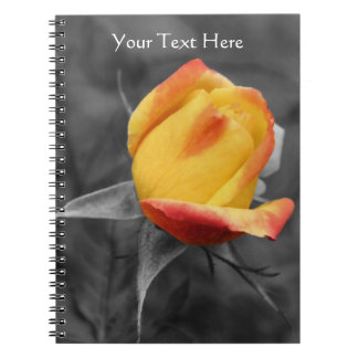 Yellow Rosebud Partial Color Floral Notebook