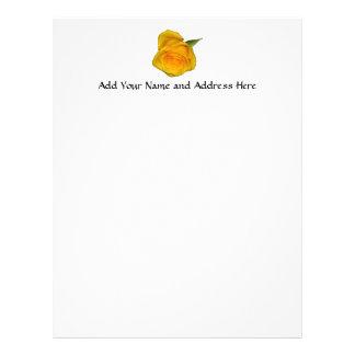 Yellow Rosebud Personalized Letterhead