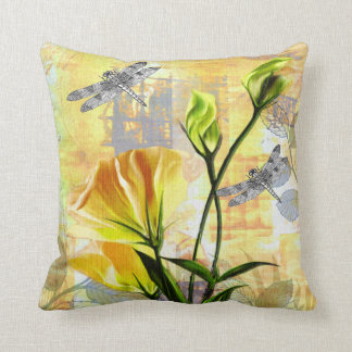 Yellow Roses and Dragonflies in the Brier Throw Pillow