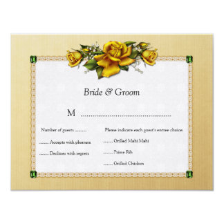 Yellow Roses and Emeralds RSVP Card