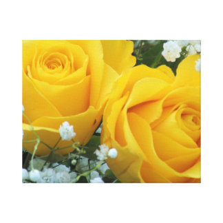Yellow Roses & Baby Breath Wrapped Canvas Canvas Print