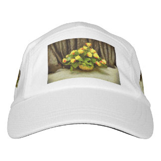 Yellow roses basket painting hat