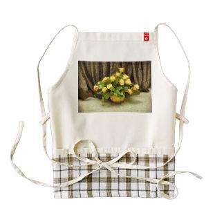 Yellow roses basket painting zazzle HEART apron