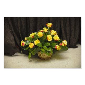 Yellow roses basket art photo