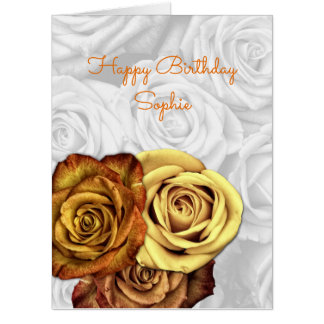 Yellow Roses Big Birthday Greeting Card