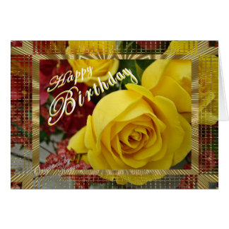 Yellow Roses Birthday-customize Greeting Cards