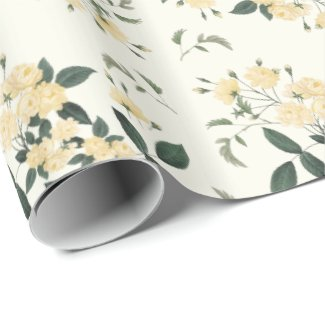 "Yellow Roses Botanical 30"" x 6' Wrapping Paper"