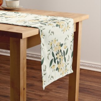 Yellow Roses Botanical Table Runner 14x72