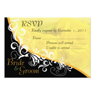 Yellow Roses Bride & Groom RSVP Card #2B Personalized Invites