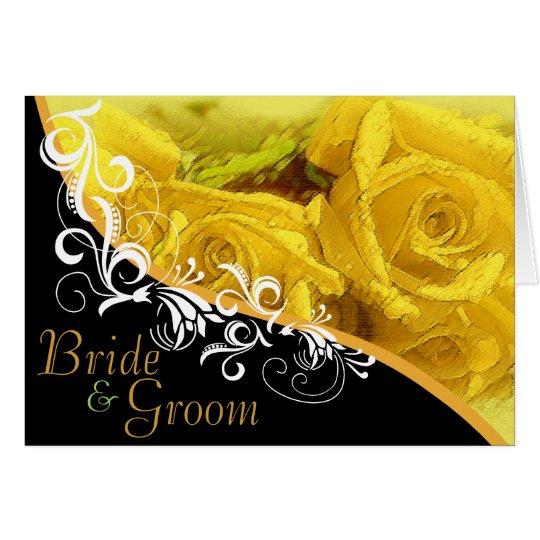 Yellow Roses Bride & Groom Wedding Card #2