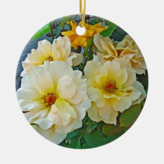 Yellow Roses Ceramic Ornament