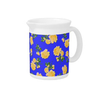 Yellow roses Chinese style blue floral jug Pitchers