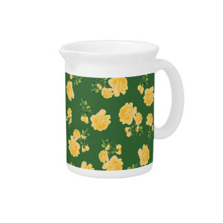 Yellow roses Chinese style green floral jug Drink Pitcher