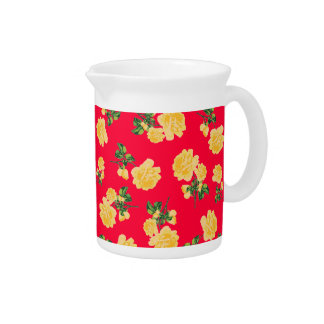 Yellow roses Chinese style red floral jug Pitcher