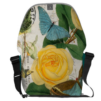 Yellow Roses Collage Courier Bag