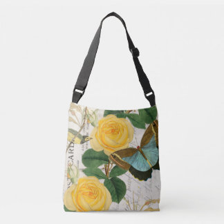 Yellow Roses Collage Crossbody Bag