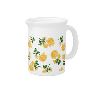 Yellow roses country cottage floral jug - white beverage pitcher