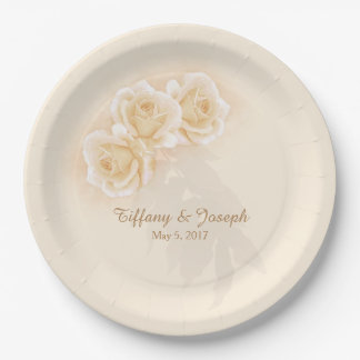 Yellow Roses & Eucalyptus Personalize Paper Plates