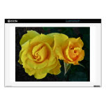 """Yellow Roses Floating In Space 17"""" Laptop Decals"""