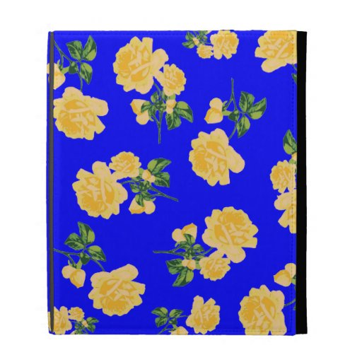 yellow roses floral case - chinese blue iPad folio cases