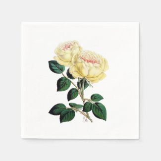 Yellow Roses Floral Paper Napkins
