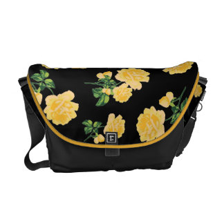 Yellow roses Floral pattern on black bag