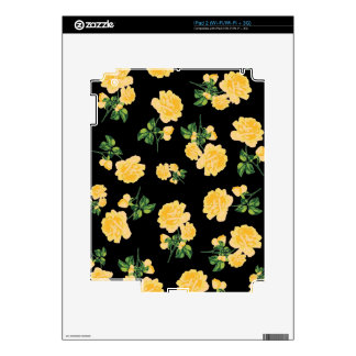 Yellow roses Floral pattern on black Decal For iPad 2