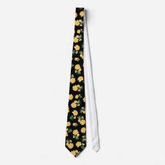 Yellow roses Floral pattern on black Neck Tie