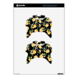 Yellow roses Floral pattern on black Xbox 360 Controller Decal