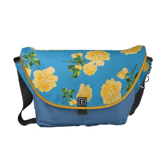 Yellow roses Floral pattern on blue bag